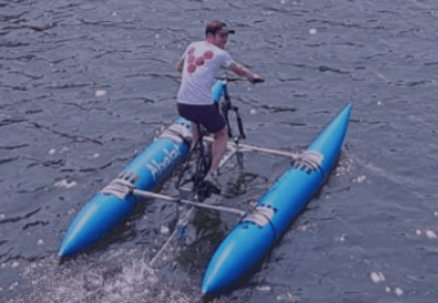 Uni mates cycle across water & land